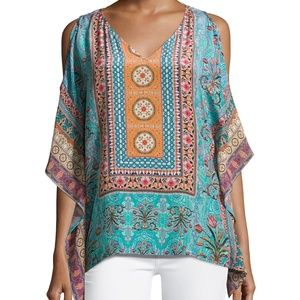 Tolani Boho Cold Shoulder Silk Top Small